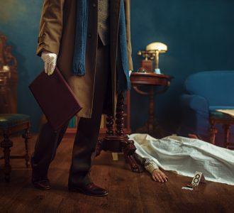 Detective holds leather folder, crime scene
